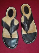 BORN Leather Sandals Flip Flop Thong T-Strap Brown Sz 9 40.5 Hand Crafted