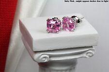 Silver Nickel Free Screwback Earrings 2.4C/Pair Pink Step Cut Asscher Sterling