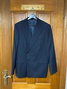 Mens Brent Wilson Double Breasted Navy Pinstripe Suit RRP $699
