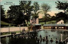 Evansville Indiana~Young Men of All Ages in Salt Pool~Jump Tower~Cook Beer~1913