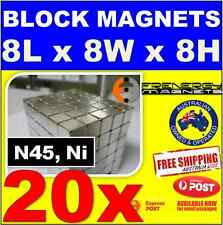 20X BLOCK CUBE Neodymium Rare Earth Magnets 8X8X8 N45