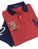 Ralph Lauren Polo Shirt Men's Size L Red/ Blue Colour Block Big Pony Classic Fit