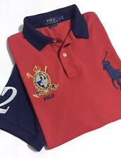 polo Ralph Lauren Men's Polo L Red & Blue Big Pony No. '2' Crest Classic Fit