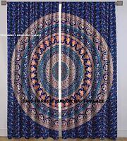 Elefant Mandala Blau Vorhänge Wand Überwurf Wandbehang Indisch Fenster Vorhang