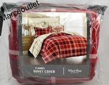 Martha Stewart Collection Ticking Plaid Flannel Twin Duvet Cover Red