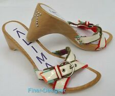 ALIMA studed wood Wedge Sandals Shoes strappy heels rockabilly Spain 37 US 6.5 7