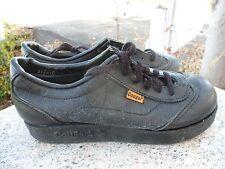 Vintage 1970's Black Cougar Chunky Platform Shoes Leather Women's Size 9 Retro