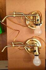 Pair of Brass Swing Arm Wall Lamp Sconce Swinging arms plug in