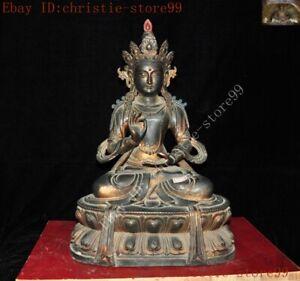 Tibet Buddhism Fane purple bronze Gilt White Tara Kwan-Yin goddess Buddha statue