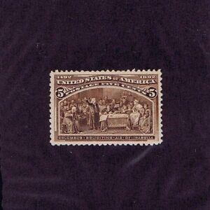 SC# 234 UNUSED ORIGINAL GUM MINT NH 5c COLUMBIAN, 1893, PF CERT GRADED XF 90