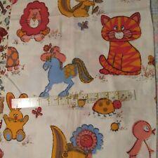 Vtg 50s 60s Large scale Baby Juvenile home decor fabric Donkey Owl  Cat 32x35
