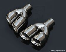 "Exhaust Muffler Tips Dual Staggered 3"" L / R Quad Set 2.25"" ID 9.5"" Long"