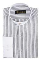Jack Martin - Peaky Blinders Style -Black Stripe Grandad Collar/Collarless Shirt