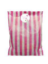Pink & white paper party bags & 30mm white thank you stickers-24 of each in pack