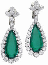 Green Pear Emerald & Shiny White CZ Elizabeth Taylor Hollywood Star Drop Earring