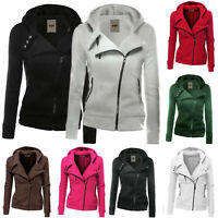 Women Casual Slim Jumper Ladies Zipper Tops Hoodie Hooded Sweatshirt Coat Jacket