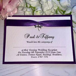 Flat Wedding Evening Invitations - Purple Ribbon & Silver Dragonfly Charm