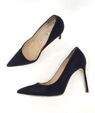 Manolo Blahnik BB Black Suede Pointed Toe Pumps Heels Shoes Size 40.5