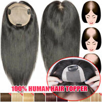 Women's 100% Remy Human Hair Topper Clip In Silk Top Toupee Extensions Straight