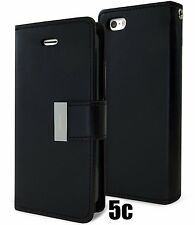 for iPhone 5C - BLACK Leather Case Magnetic Multi Cards Wallet Pouch Folio Cover