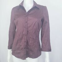 New York Company blouse Size S  3/4 Sleeve Button Shirt Burgundy white Dots.
