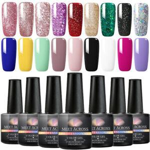 8ml MEET ACROSS Nail UV Gel Polish Semi-permanent Soak off Glitter Nail Varnish