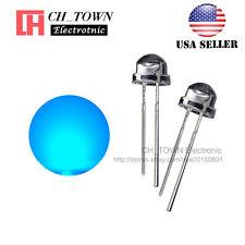100pcs 5mm Straw Hat Blue Light Wide Angle Transparent Led Emitting Diodes Usa