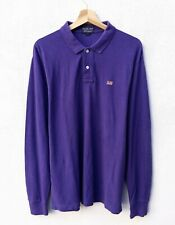 Polo RALPH LAUREN Uomo L CUSTOM FIT T shirt Manica Lunga Slim Maglia Viola
