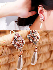 1 Pair Fashion Women Lady Elegant Crystal Rhinestone Ear Stud Earrings Charm +
