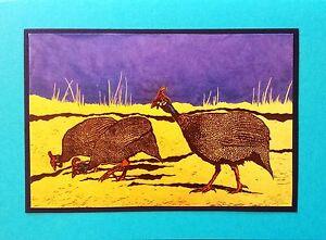5 Handmade Guinea Hen Fowl Note Cards Stationery Envelopes Bird Africa Birds