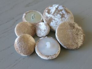 Champagne Velvet Fabric Buttons 16mm 20mm 25mm 31mm 37mm Small, Medium & Large