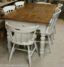 Victorian Pine Farmhouse Dining Table and Chairs Made to Order (From £349)