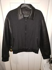 Reilly Olmes Leather Varsity Jacket Size M (fits like LG) Black Mens Wool.