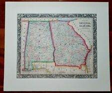 1861 Mitchell County Map of Georgia And Alabama ~ Matted, Unframed