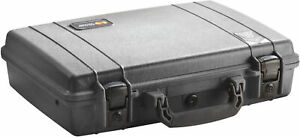 New Black Pelican ™ 1470 Attache Style Small Computer case NF empty + nameplate