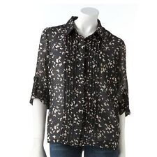 LC LAUREN CONRAD BUTTERFLY CHIFFON BLOUSE SIZE X-SMALL;NWT