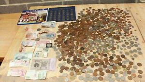 LARGE Job Lot of 6.4KG UK & FOREIGN Unsorted COINS & BANKNOTES Various Eras-254