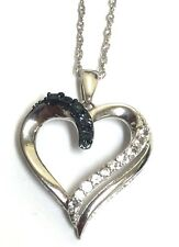 Sterling Silver 925 Blue Sapphire Diamond Pave Love Heart Pendant Necklace
