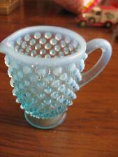 """Fenton-Blue Opalescent Hobnail Cramer-Glass-3 3/8"""" tall"""