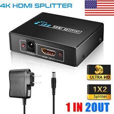 Full HD 1080p 4K HDMI Splitter 1 In 2 Out 1X2 2 Port Repeater Amplifier v1.4 3D