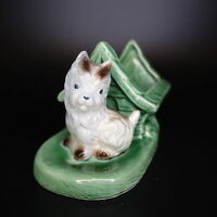 Vintage Green Shawnee Pottery Green White Terrier Dog House Planter Ceramic USA