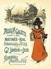 MOULIN GALETTE BALL culturelle dimanche PARIS FRANCE VINTAGE AD WALL POSTER 1606pylv