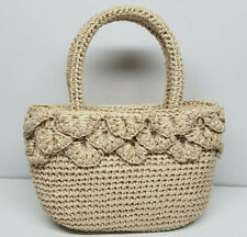Vintage Woven Straw Tan Cream Beaded 3 Compartment Handbag Purse Made in Japan