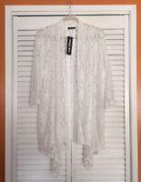 XL/1X/2X New Pristine White Long Floral Lace Duster Topper Cardigan Kimono