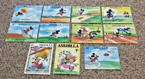 Anguilla Disney Decathlon 1984 Los Angeles Stamp Bundle Joblot x10