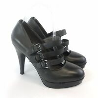 Mint Velvet Size 37 US6 UK4 Grey Leather 3 Strap Platform Heels Mary Jane shoes