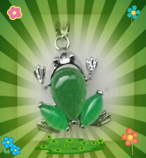 """Beautiful Alloy Natural green jade Carved frog pendant 16"""" necklace  US Seller!"""