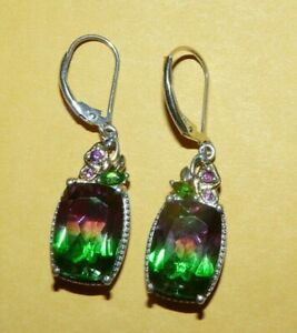 "~""STS""~CHUCK~CLEMENCY~STERLING~""925""~MYSTIC~TOPAZ~RUBY~EMERALD~DANGLE~EARRINGS~"