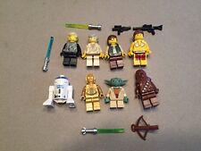 LEGO lot of 8 Star Wars Good Guy Minifigs Yoda Luke Leia Han R2-D2 Chewy Z434