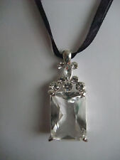 GOTHIC VAMPIRE GLASS CRYSTAL SILVER COLOUR SETTING ON BLACK RIBBON NECKLACE new